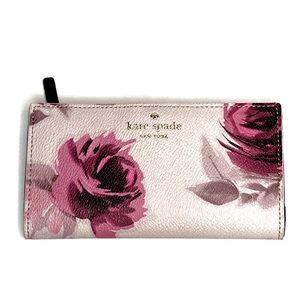 NWOT Kate Spade Roses Stacy Snap Pink Wallet